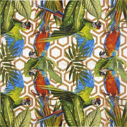 Paper Napkin - Tropical Parrots copper