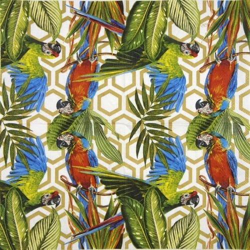 Paper Napkin - Tropical Parrots gold