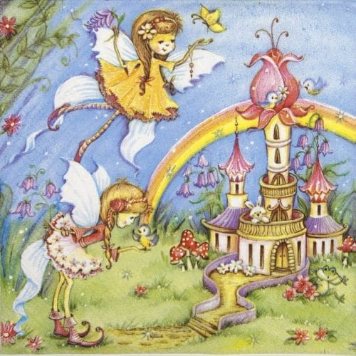 Paper Napkin - Magic fairies with castle