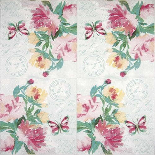 Lunch Napkins (20) - Pink watercolour flowers
