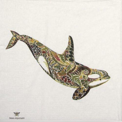 Paper Napkin - Helen Ahpornsiri: Green Orca