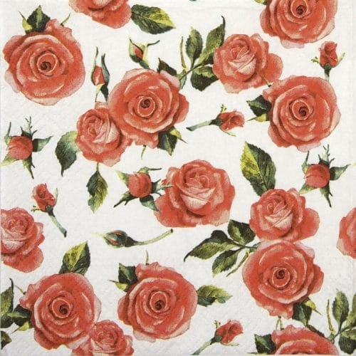 Lunch Napkins (20) - Red Roses