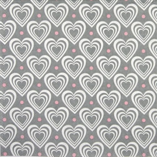 Lunch Napkins (20) -  Hearts in Hearts Grey