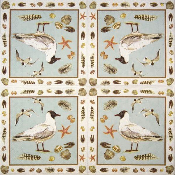 Paper Napkin - Black headed seagull blue