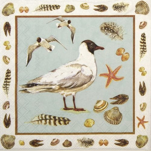 Paper Napkin - Black headed seagull blue