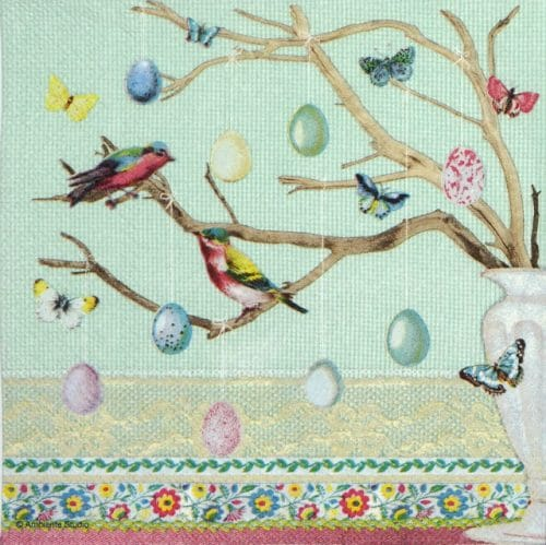 Paper Napkin - Easter Branch green