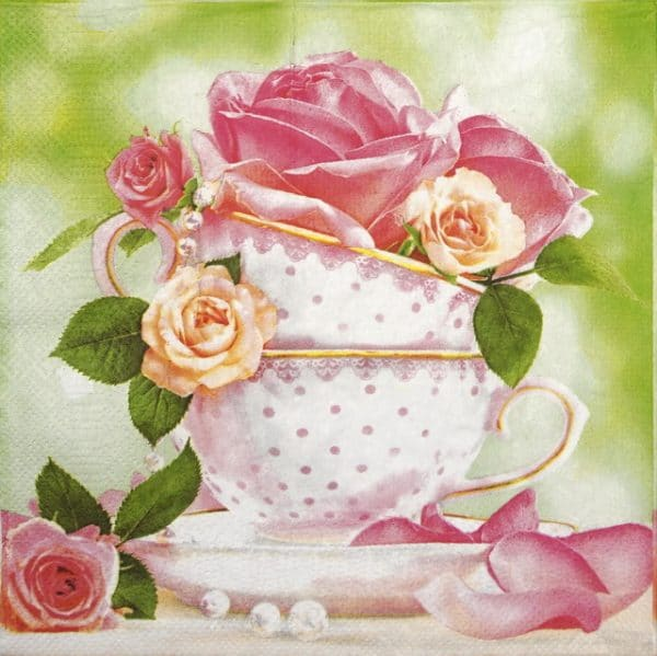 Lunch Napkins (20) - Cup of Roses