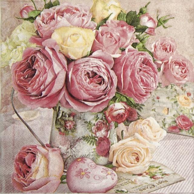 Paper Napkin - Pink Roses in Vintage Vase