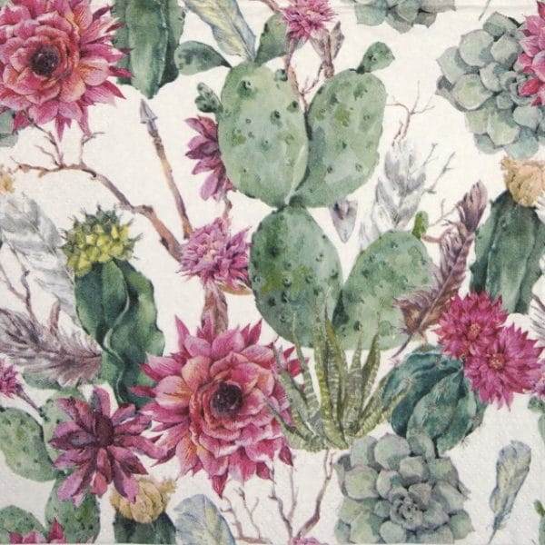 Lunch Napkins (20) - Cactus Flower