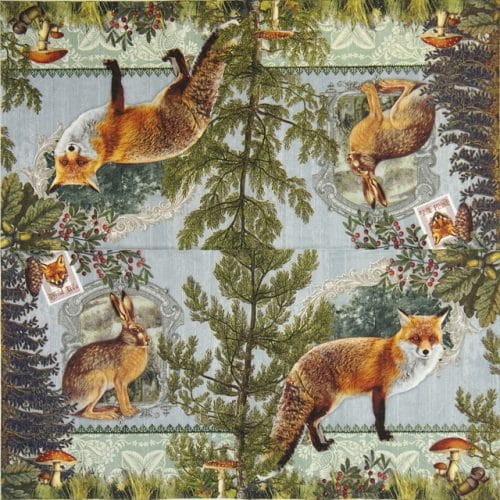 Lunch Napkins (20) - Fox Portrait