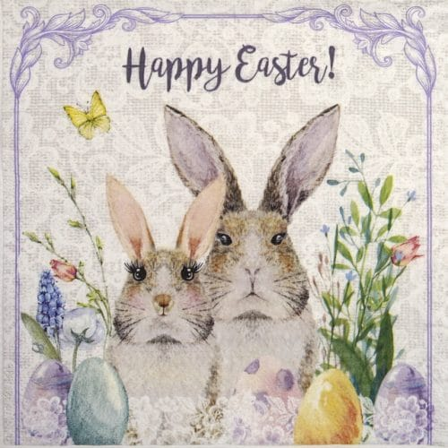 Paper Napkin - Mrs. & Mr. Easter Bunny