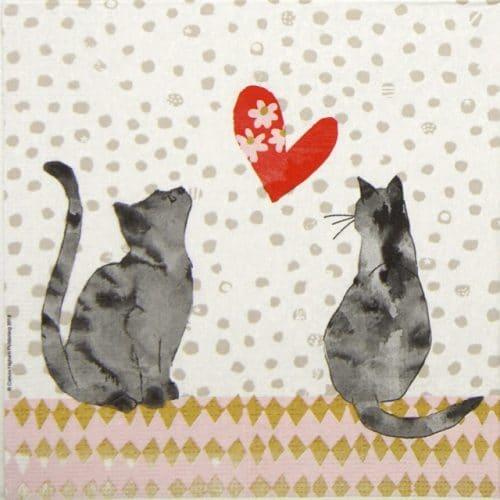 Lunch Napkins (20) - Carson Higham: Cats in love