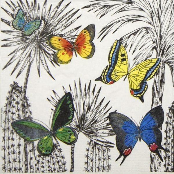 Lunch Napkins (20) - Dominique Tage: Desert Butterflies