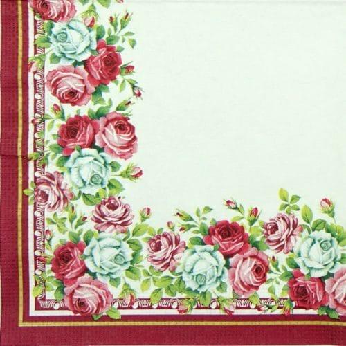 Paper Napkin - Roses Border