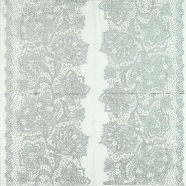 Paper Napkin - Gloria Lace Silver