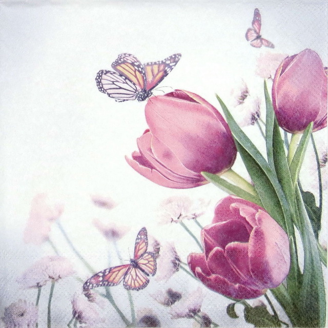 Lunch Napkins (20) - Butterfly & Tulips