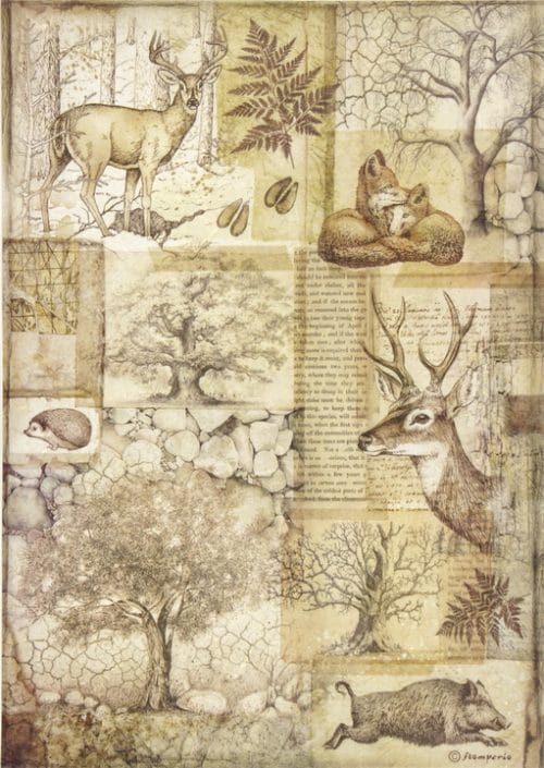 Rice Paper - Forest Deer and wild boar