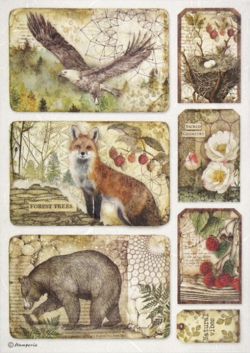 Rice Paper - Forest framed eagle, bear, fox