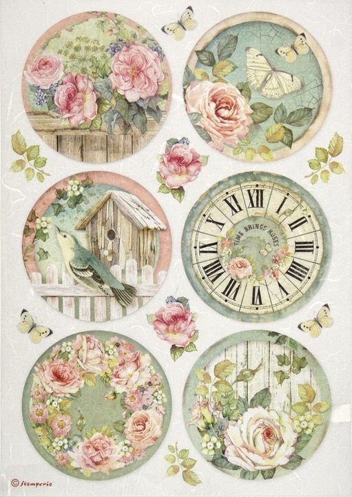 A/4 Rice Paper for Decoupage Scrapbooking Round clocks