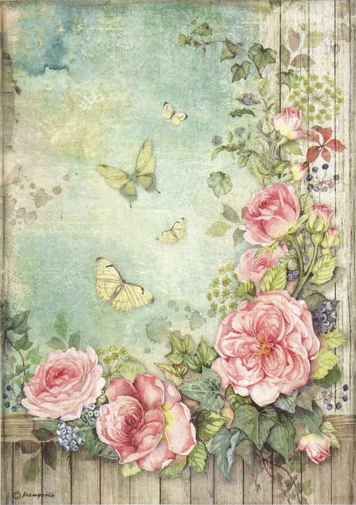 Rice Paper - Roses garden with fence