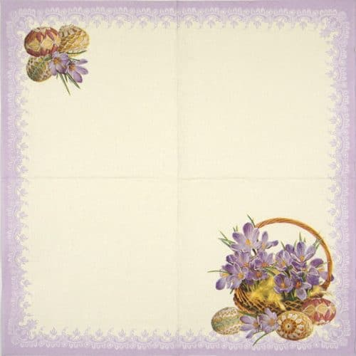 Paper Napkin - Crocuses in a Basket Violet