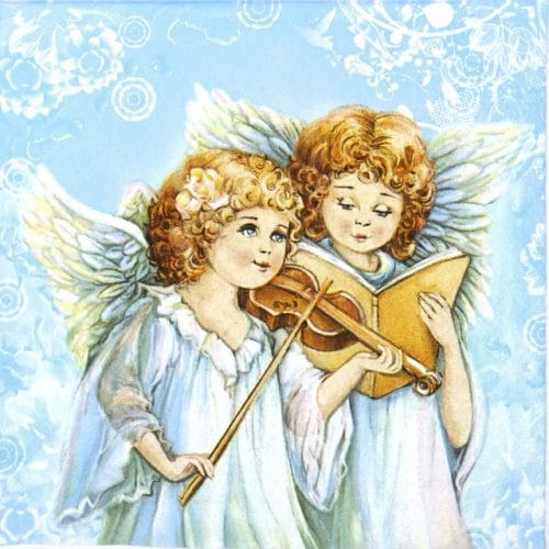 Paper Napkin - Two angels singing & playing