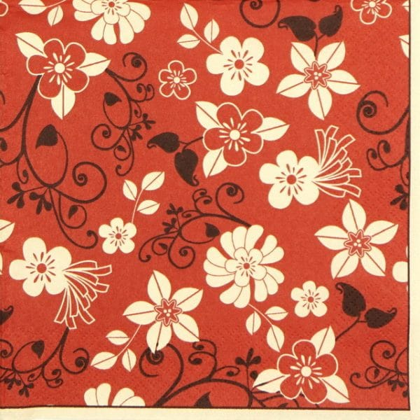 Paper Napkin - Flowers of Red