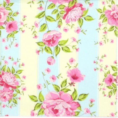 Lunch Napkins (20) - Peonies on stripes