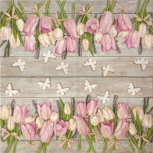 Paper Napkin - White and pink tulips on wood