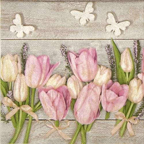 Lunch Napkins (20) - White and pink tulips on wood