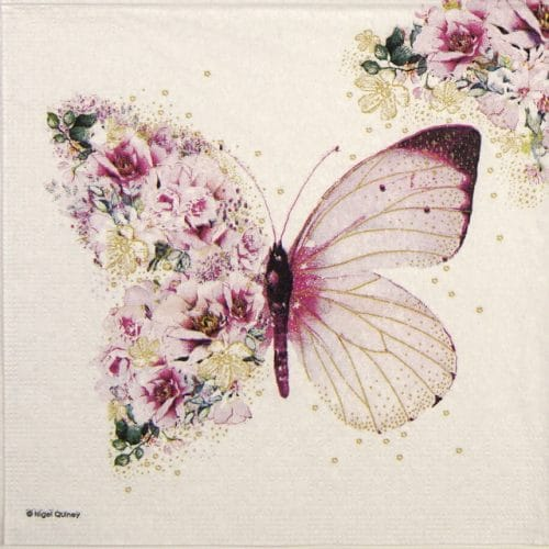 Lunch Napkins (20) - Nigel Quiney: Butterfly Flowers