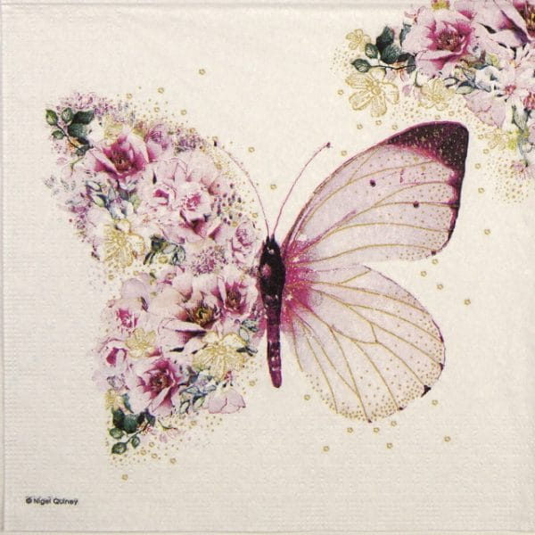 Cocktail Napkin - Nigel Quiney: Butterfly Flowers