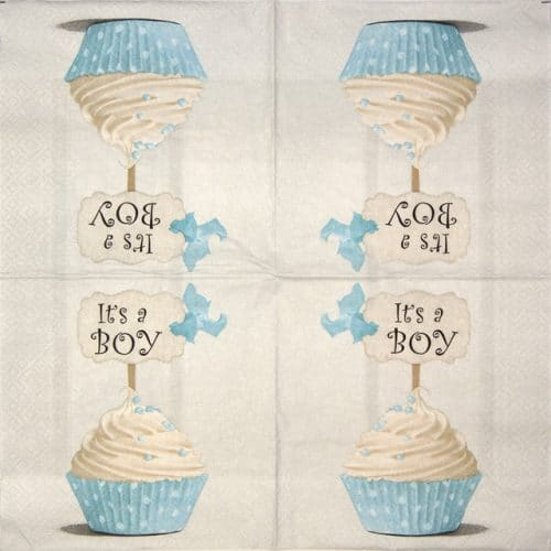 Lunch Napkins (20) -  Blue cupcake