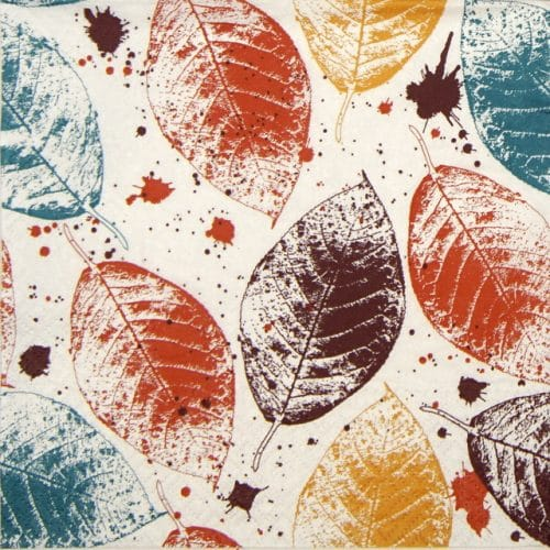 Lunch Napkins (20) - Leaves Print honey