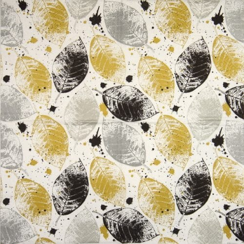 Lunch Napkins (20) - Leaves Print gold