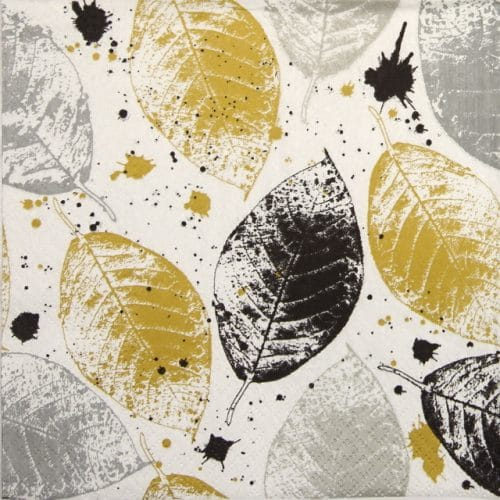 Paper Napkin - Leaves Print gold