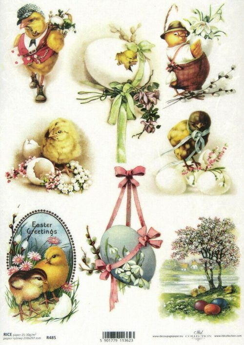Rice Paper - Happy Easter with eggs
