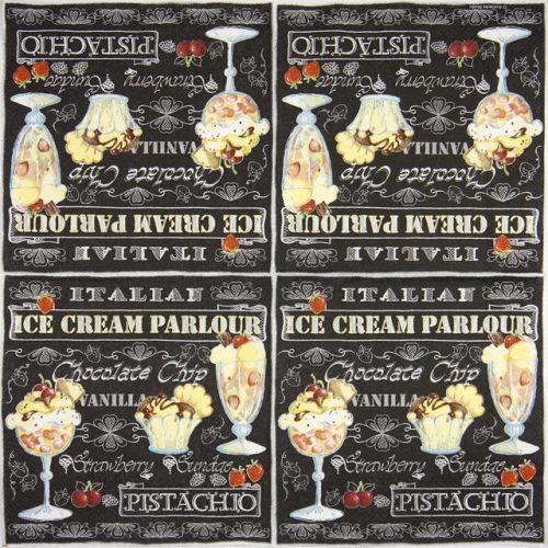 Paper Napkin - Ice cream black
