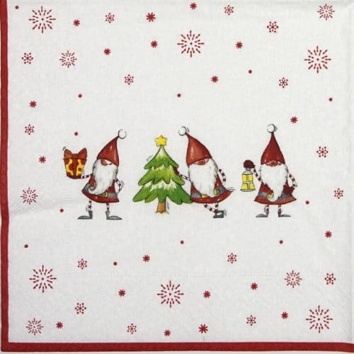 Lunch Napkins (20) - Christmas Gnomes