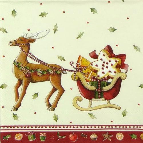 Paper Napkin - Christmas Bakery Sleigh