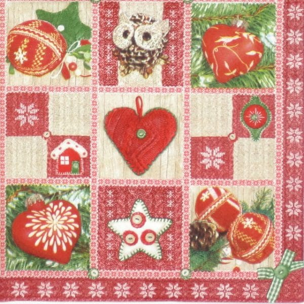 Paper Napkin - Christmas Ornaments Red