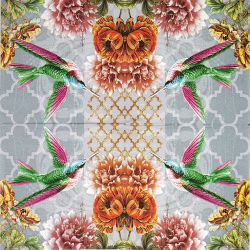 Paper Napkin - Colibri Flower
