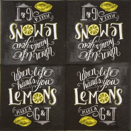 Lunch Napkins (20) - Lily & Val: Blackboard Lemons