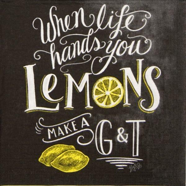 Lunch Napkins (20) - Lily & Val: Blackboard Lemons