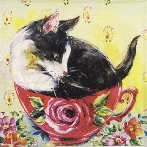 Lunch Napkins (20) - Sophie Adde: Chat en Rose