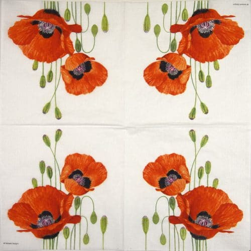 Cocktail Napkins (20) - Verbeek Design: Poppies