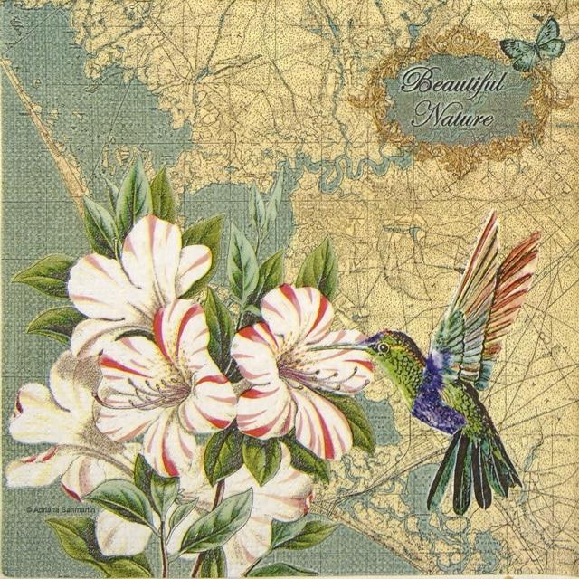 Paper Napkin - Adriana Sanmartin: Pretty Hummingbird