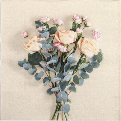 Paper Napkin - Peach Roses