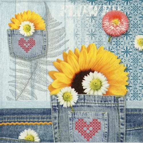 Paper Napkin - Denim Sunflower