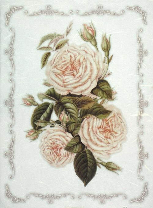 Rice Paper for Decoupage Decopatch Scrapbook Craft White flowers frame